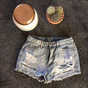Urban outfitters high rise denim shorts